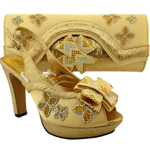 Latest Shoes and Bag Set Gold Color Italian Ladies Shoe and Bag Set Decorated with Rhinestone Matching Shoes and Bags for Women