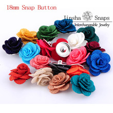 10pcs/lot Mixed Color Fabric Flower Rose Snaps Button for Jinsha Snap Jewelry by Jinsha Designs Tops Interchangeable JSSB1801