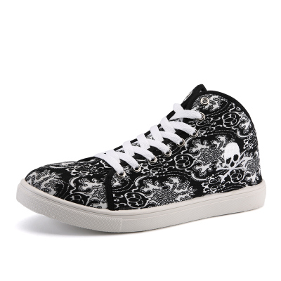 Personalized Skull Canvas Shoes For Men Fashion Hip Hop Teenagers Punk High Top Flats Casual Male Shoes Leisure Zapatos Hombre<br><br>Aliexpress