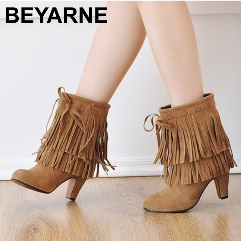 U.S. large-size 4-14 Free shipping Winter New Arrival pointed high heels pump shoes fringed suede boots<br><br>Aliexpress