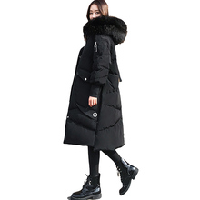 2017 Winter New Loose Thick Down Jackets Women Hooded White Duck Down Black Warm Down Coats Faux Fur Female Jacket YP0864(China)