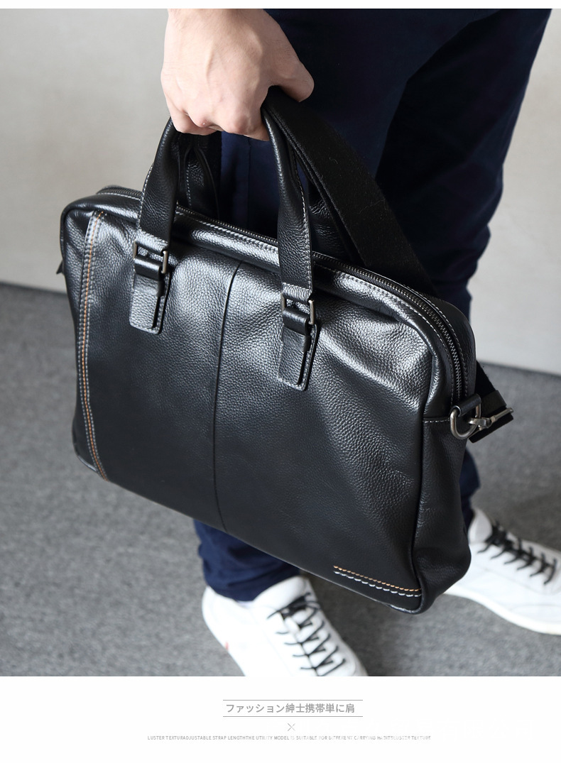 100% Guarantee Natural Genuine Leather Men Briefcase Simple But Fashion Men Leather Handbag 14″ Laptop Bag Business Briefcases
