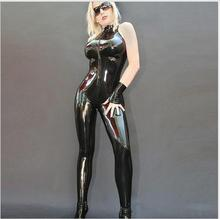 Buy Sexy lingerie Women Faux Leather Bodycon Fetish Jumpsuit Black PVC Bodysuit Open Crotch Porn Teddy Lingerie Erotic Latex Catsuit
