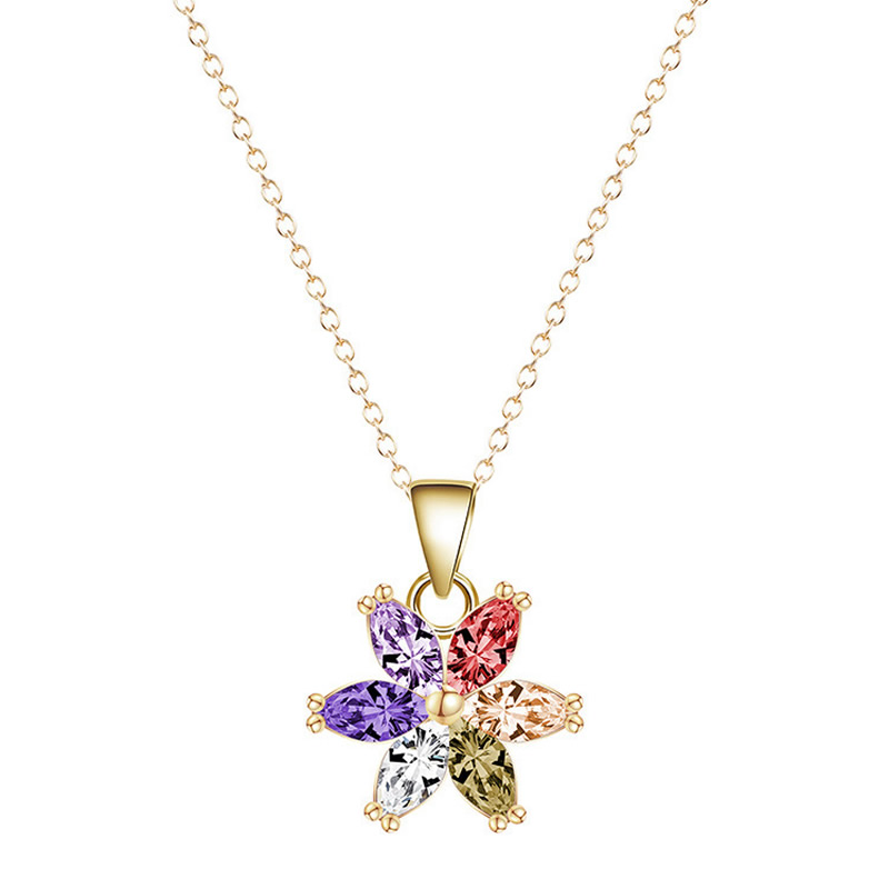 Marquise-cut multicolored AAA CZ 6 Sun Flowers Pandent Necklace Jewelry oval chain 40cm, Sold Per Approx 15.5 Inch Strand(China)