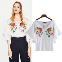 European style women t shirt short sleeve v-neck embroidery floral loose tee shirt femme womens casual clothing tops(China)