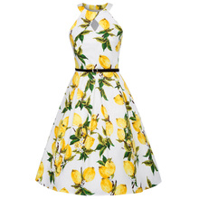 Buy Summer Dress 2018 Sexy Halter Dress Floral Print Sleeveless Vintage 50s 60s Rockabilly Robe Femme Ete Party Retro Dress Women