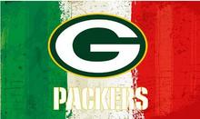 NFL Green white red Stripes Green Bay Packers flag Oil painting style banner 3ftx5ft 100D Polyester custom Flags(China)