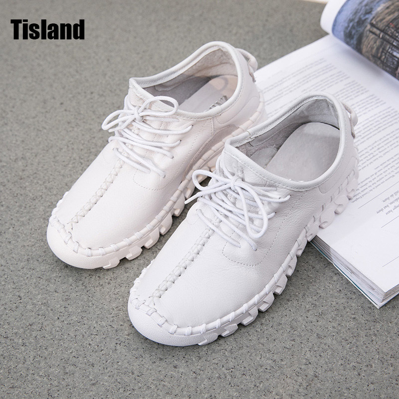 2017 Autumn Women Genuine Leather Shoes,High Quanlity Handmade Comfortable Soft Flats Shoes Women Lace Up Sport Casual Shoes<br>