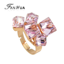 FANHUA New Fashion Rose Gold C Colorful Purple Crystal Luxury Geometric Finger Ring For Women
