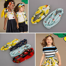 #60030 2017 Hot Sale  Hair Accessories For Kids  Red Yellow Colorful Chiffon Headband With Flowers Summer Comfortable Headbands