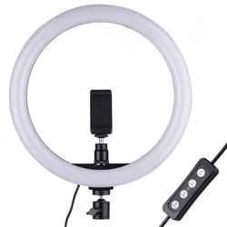 Портативный селфи видео кольцевой светильник с регулируемой яркостью, 24 Вт светодиодный потолочный светильник кольцо светильник Камера те...