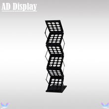 Exhibition Booth A4 Black Brochure Rack Display Stand,Advertising Literature Holder,Pop Up Folding Magazine Literature Stand(China)