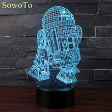 7 Color Changing Luminaria Night Light Star War R2 Robot 3D Light Robot Light LED Table Lamp Touch Switch Desk Light For Kids