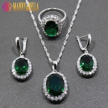 Now Hot Selling Green Zircon 925 Sterling Silver Jewelry Sets Earrings/Pendant/Necklace/Ring For Women Free Gift TZ53
