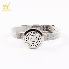 20MM 25MM Silver Magnt Perfume Locket Bracelet 316L Stainless Steel Essential Oil Diffuser Locket Bracelet For Women Best Gifts