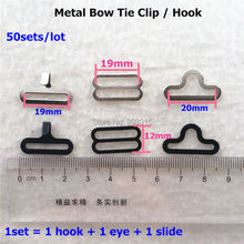 ( 2 color )  50 Sets/lot  Adjustable Bow Tie hook Buckle Bow Tie Clip 19mm Hardware Necktie Hook Cravat Clips Fasteners