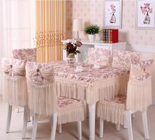 Lace floral photo printing cotton tablecloth set suit 130*180cm table cloth matching chair cover 3 colors 1 set price free ship