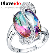 Uloveido Rainbow Silver Color Costume Jewelry Rings for Women Crystal Engagement Ring Jewellery Bague Femme Charms Joias J195(China)