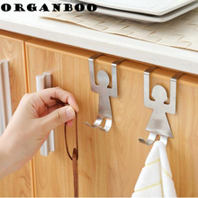 ORGANBOO 1Set Cartoon stainless steel back door hook creative scarf towel cloth free nails door cabinet door wipes storage hook(China)
