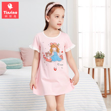 Tinsino Girls Summer Cartoon Nightgowns Children Short Sleeve Princess Pajamas Kids Sleepwear Clothing Home Dress Clothes