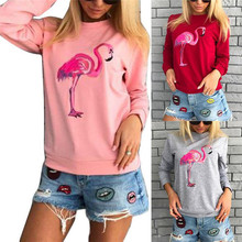 Hoodies Cartoon Flamingos Print Autumn Women Fashion Warm O Neck Casual Hoodies Pullover Tracksuits Sweatshirt Red Tops(China)