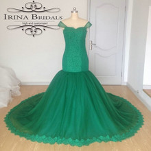 Coloful Off The Shoulder Lace Appliqued Mermaid Pearls Emerald Green Wedding Dress(China)