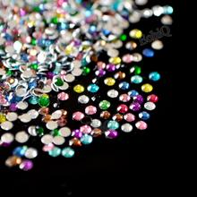 1000Pcs/Bag 3mm ss12 Mixed Multi Color Acrylic Nails Art Glitter Rhinestone Beads Handmade Jewelry Nail Tools DIY Decoration