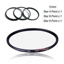 3x 72 72mm Star Filter 4 6 8 Point Twinkle Flare Lens Filters For Nikon D200 D500 D750 D5300 D5500 D3300 D3400 Camera SLR Lenses(China)