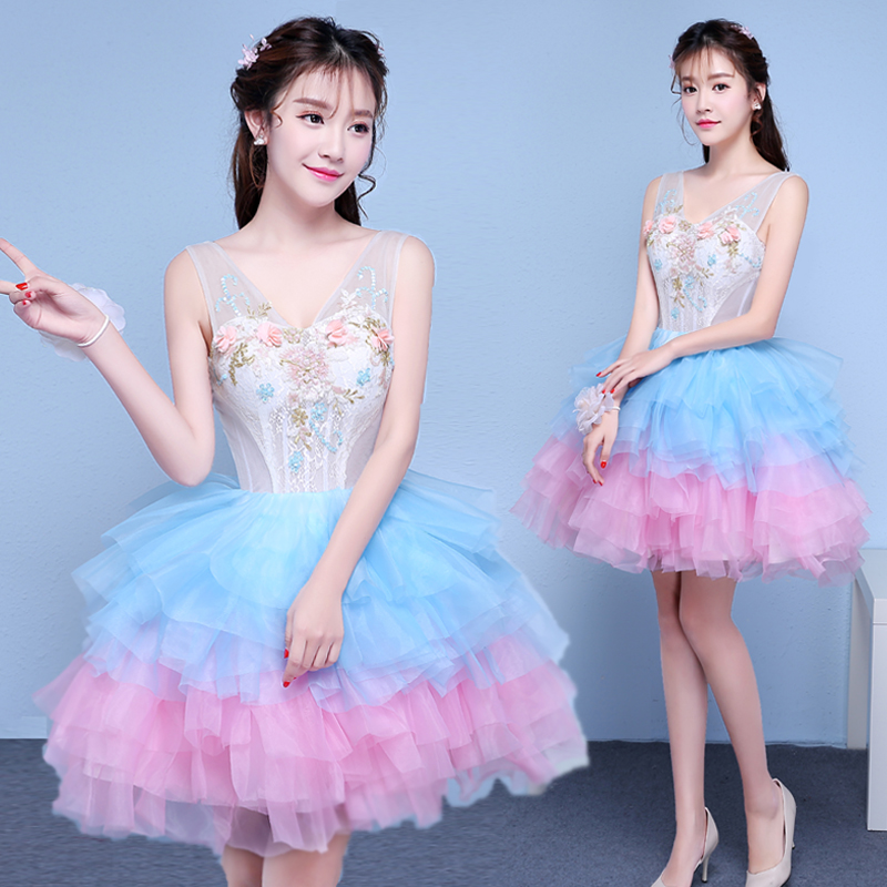 New short multicolor sweat lady girl women princess bridesmaid performance banquet party ball dress gown