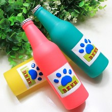 2016 New Tang Badi Sound Pet Toys - Non-Toxic Green Plastic Beer Bottle Dog Toy Pet Toys Free Shipping(China)