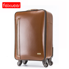 Genuine Leather Travel Suitcase 16''/18''Spinner Rolling Carry-on Traveller Luggages Brown Cowhide Leather Real Leather Suitcase