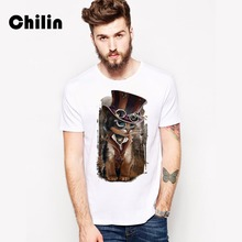 Chilin Tshirt Brand 2017 Male Short Sleeve T Shirt O-Neck Men T-Shirt Magician Cat Tee Shirt Tops Shirt Homme T Shirts 3XL