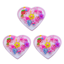 12pcs/lot Lovely Mix Animals Flower Heart Assorted Children's ring for Girls Baby Cartoon Plastic Rings for Kids with box 2017