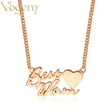 VOGEM Best Mum Necklace Heart Shape Rose Gold Silver Colors Personalized Letter Custom Stainless Steel Chain Love Jewelry Gifts