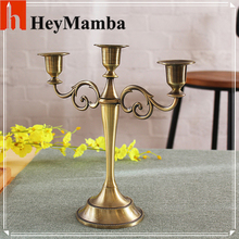 Wholesale Silver/Gold/Bronze/Black 3 Branch Metal Candle Holder Candlestand Home Decoration Wedding Event Candelabra CandleStick(China)