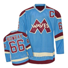Waves Gordon Bombay #66 Mighty Ducks Movie Blue Hockey Jersey Embroidery Stitched Customize any number and name