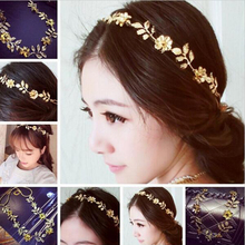 1Piece Punk Fashion Free Shipping Crystal Flower Chic Hair Cuff Pin Leaves Leaf Headband Chains Bohemia Hairbands Headbands