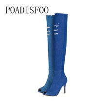 POADISFOO  55cm sandals women shoes pants cowboy elastic cloth high with fine fish mouth cool boots big size boots.CBSL-MSL