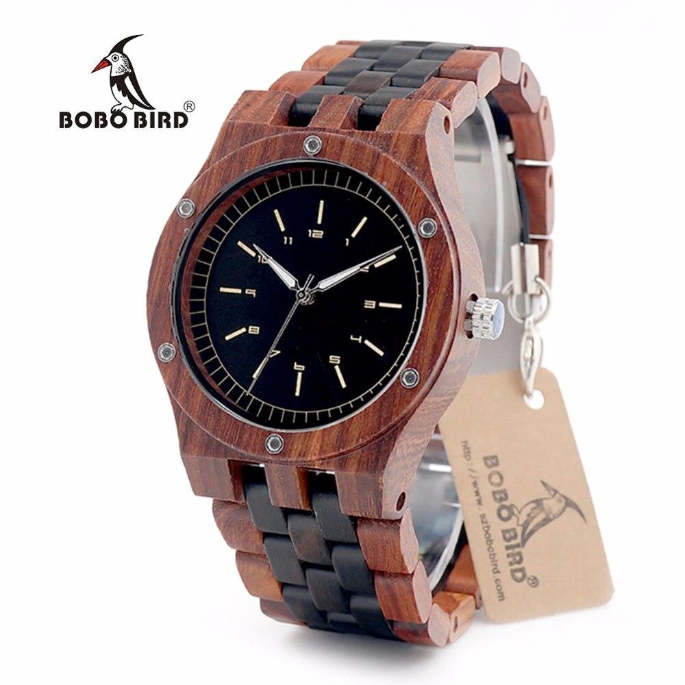 BOBO BIRD EN18 Handmade Analog Men Wooden Quartz Watch Round Dial Unique Combination Ebony And Red Sandalwood Customzied<br>