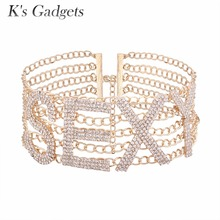 K'S Gadgets Sexy Fashion Rhinestone Choker Necklace Collier Chic Party Women Necklace Accessories Club Chain Necklace Bijoux