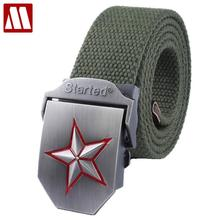 Red star automatic buckle belts fashion outdoor men's canvas belts male casual strap waist of trousers luxury belt 110 140CM