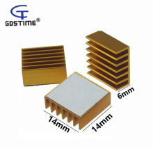 50PCS Gdstime Aluminum Cooling Heat sink 14x14x6MM Golden Chip CPU GPU VGA RAM LED IC Heatsink Radiator Cooler