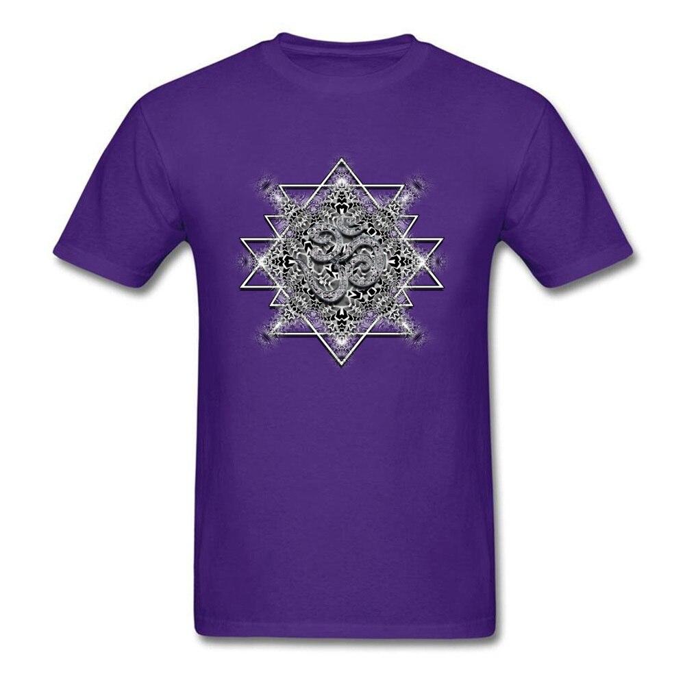 T Shirt Clothing Shirt OM Tribal Geometry VALENTINE DAY Short Sleeve 100% Cotton Round Neck Men T Shirts Printed On Retro OM Tribal Geometry purple
