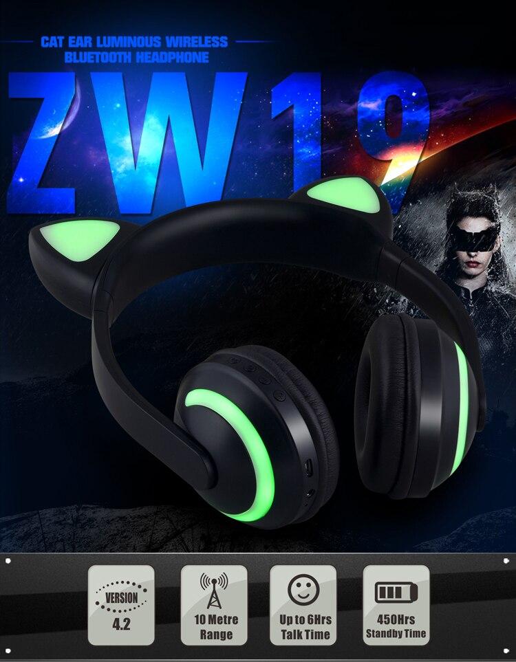 E2232 Cuffie per orecchie di gatto con luce LED lampeggiante Cosplay (1)