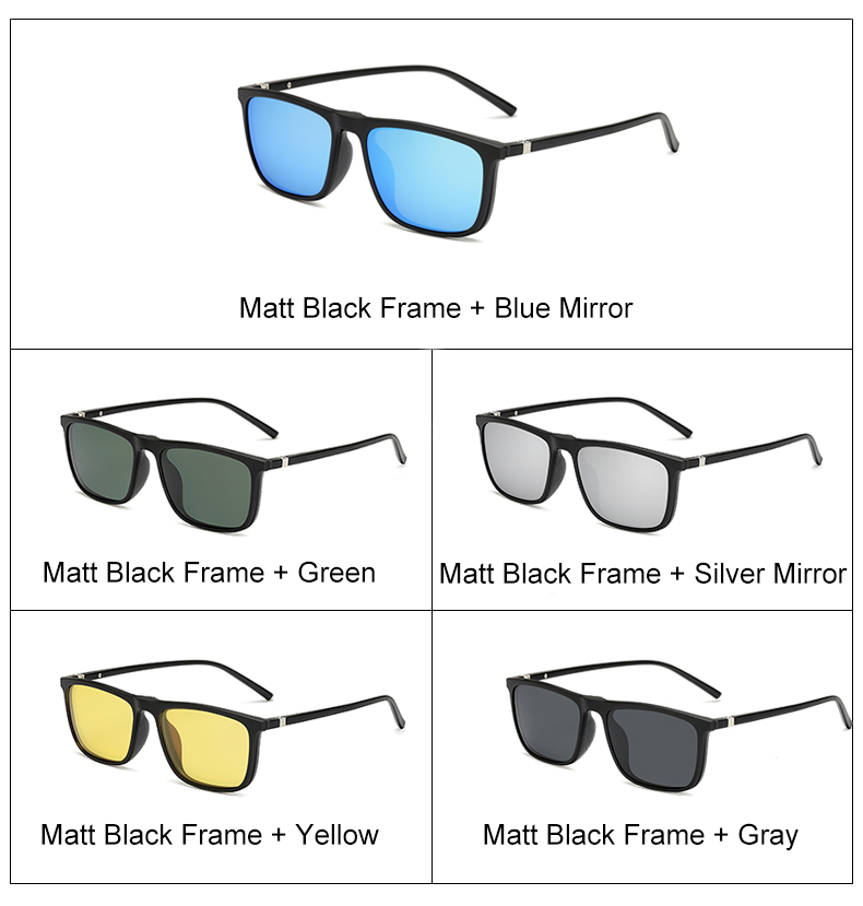 Ralferty 5 In 1 Ultra-Light TR90 Magnetic Polarized Clip On Sunglasses Men Women Square Sunglases Night Vision Glasses A8804 5
