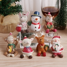 Christmas Tree Animal Snowman Deer Sant Claus Miniature Figurine Decoration Fairy Garden Statue Resin Craft Toy Ornaments H06