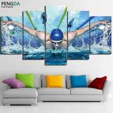 Pictures HD Printed Canvas Oil Posters Wall Art Frame For Living Room Decor 5 Pieces Swimming Pool Fitness Gym Painting PENGDA