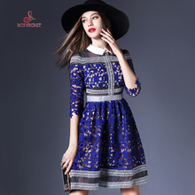 RC'S SECRET Women dres 2017  Plus Size Peter Collar Lace Hollow School Preppy Style Knee-length Blue A-line Lady Dress Formal