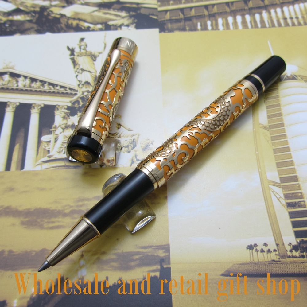 Free shipping 0.7MM perfect Kim Ho celluloid pen engraved of Orange and gold roller Pen<br>
