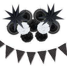 12pc (Black,White) Paper Decoration Set Party Decor Paper Fans Stars for Birthday Party Wedding Baby Showers Garden Space Decor(China)